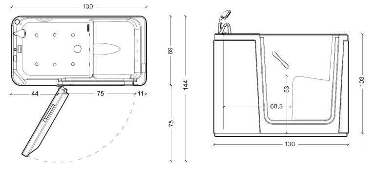 Vasche con sportello e vasca doccia con sportello anche per bagni molto piccoli - Misure vasche da bagno rettangolari ...