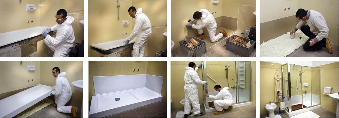 Trasformazione vasca in doccia rinnovare il bagno con un - Montaggio piastrelle bagno ...