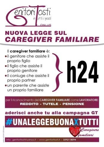 locandina della campagna per una legge sui caregiver redatta da genitori tosti