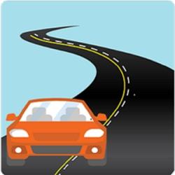 icona dell'applicazione corsie gialle, disegno di un'auto rossa su una strada stilizzata