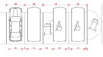 Barriere architettoniche parcheggi accessibili for Dimensioni del garage di 2 e mezzo