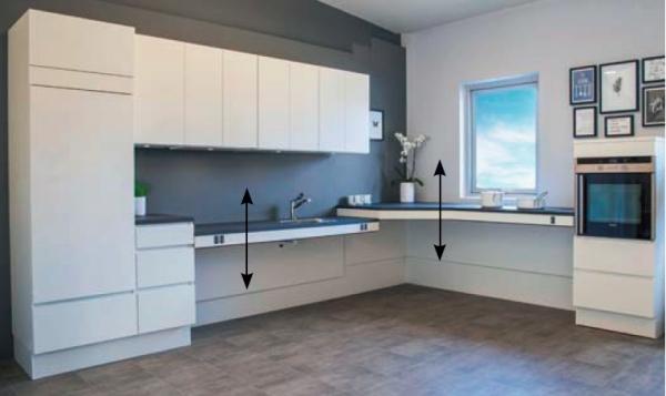 IComponenti ergonomiche e regolabili  di cucine per persone in carrozzina o altre disabilità