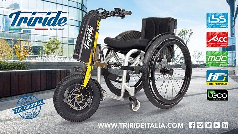 ITriride, il propulsore di spinta che trasforma la carrozzina manuale in carrozzina elettrica